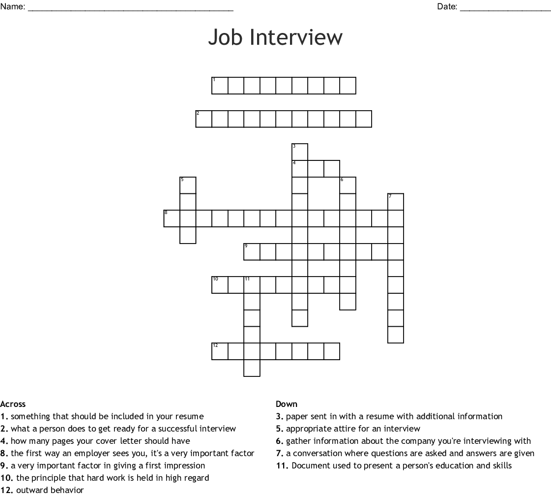 Job Interview Crossword Wordmint throughout size 1121 X 1008