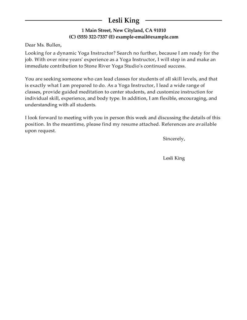Leading Professional Yoga Instructor Cover Letter Examples throughout proportions 800 X 1035