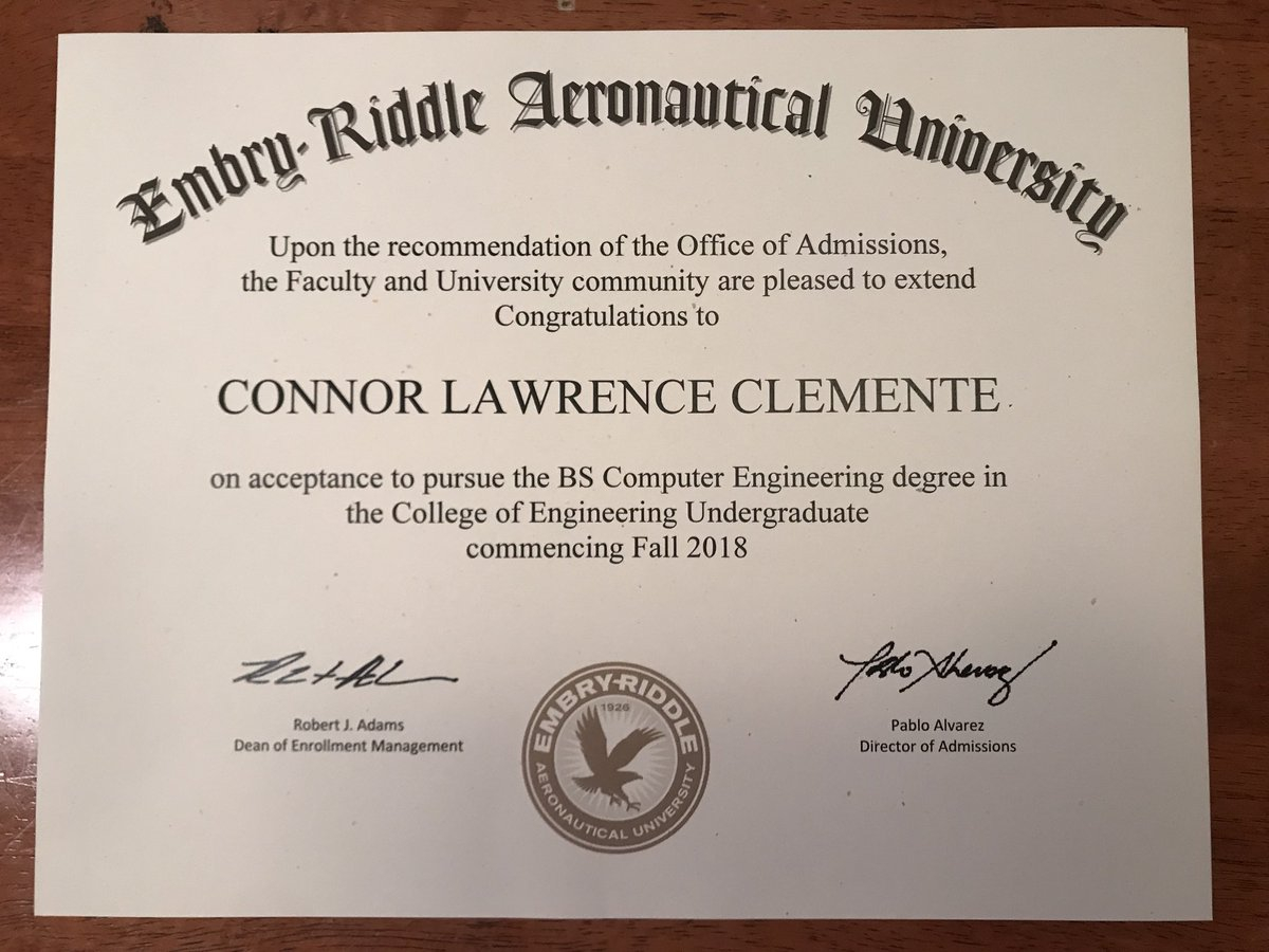 embry riddle aeronautical university letter of