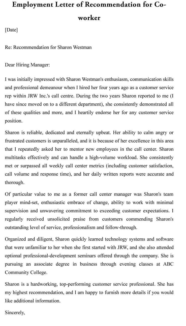 Letter Of Recommendation For Co Worker 18 Sample Letters inside measurements 750 X 1314