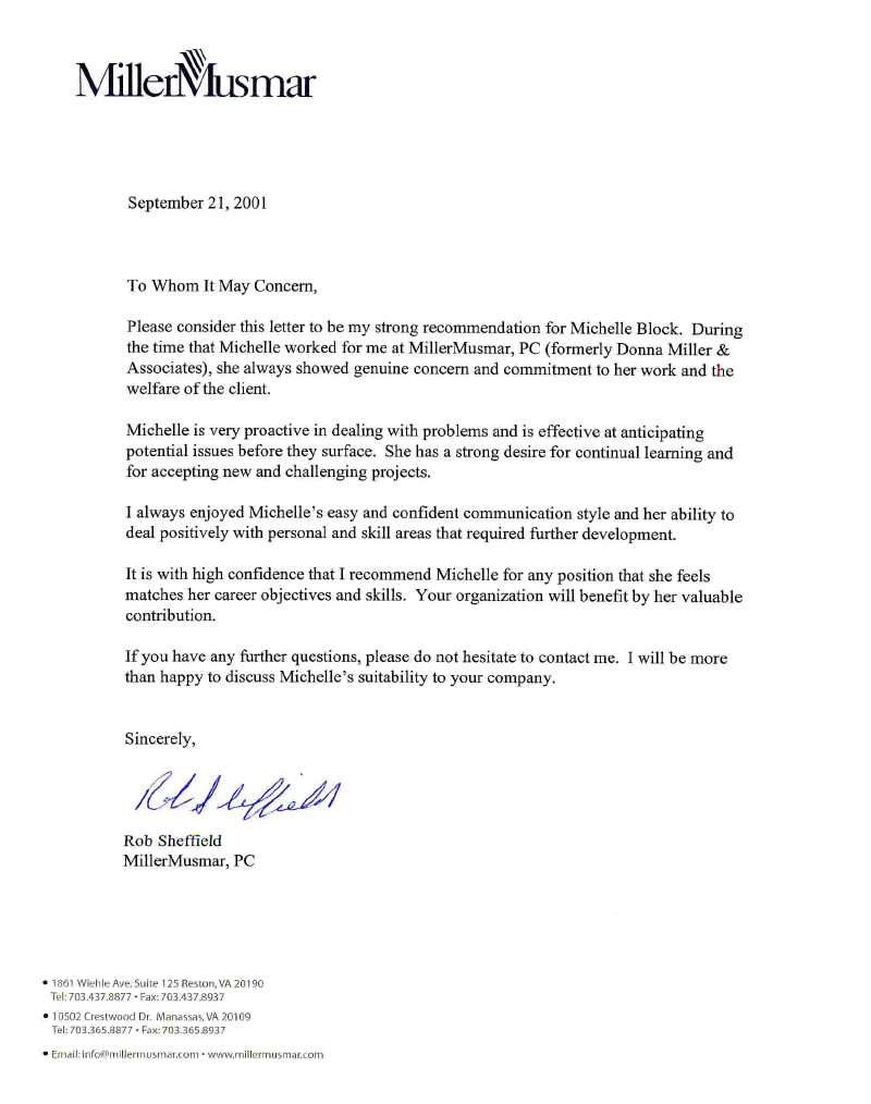 Letter Of Recommendation R Sheffield Professional within measurements 800 X 1014