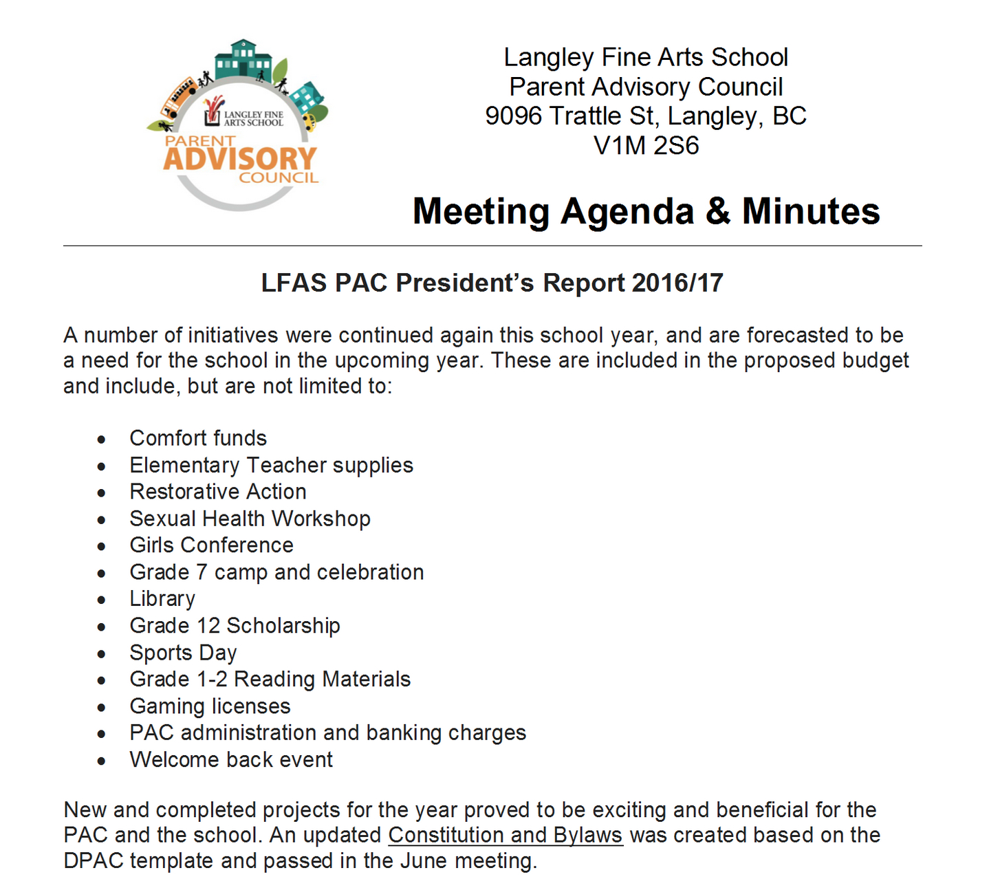Elementary Student Council Meeting Agenda Template ...