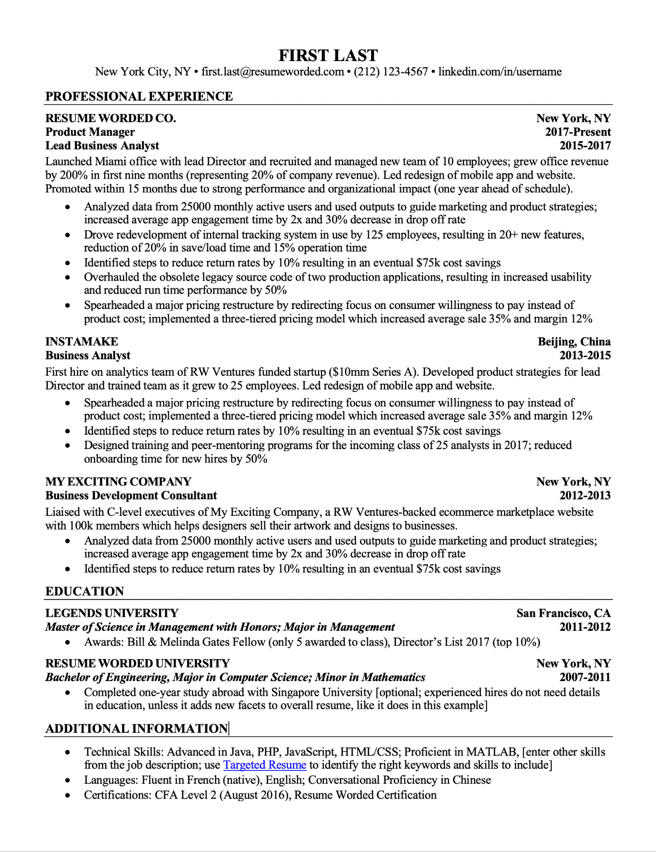 free resume template with bullet points • invitation
