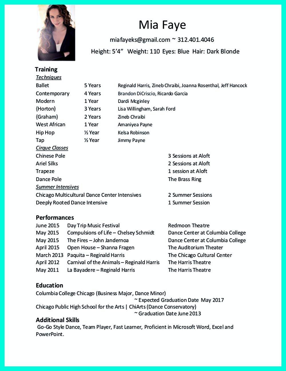 Professional Dance Resume Debandje throughout size 1000 X 1295