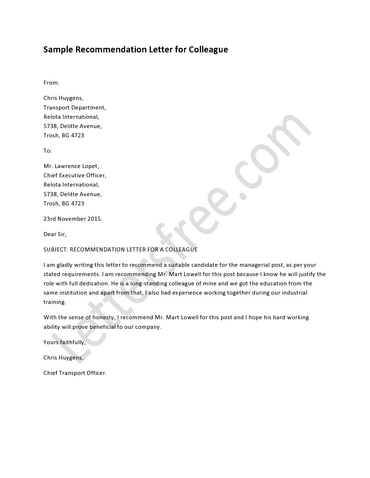 Recommendation Letter For Colleague Lettering Writing A intended for proportions 1275 X 1650