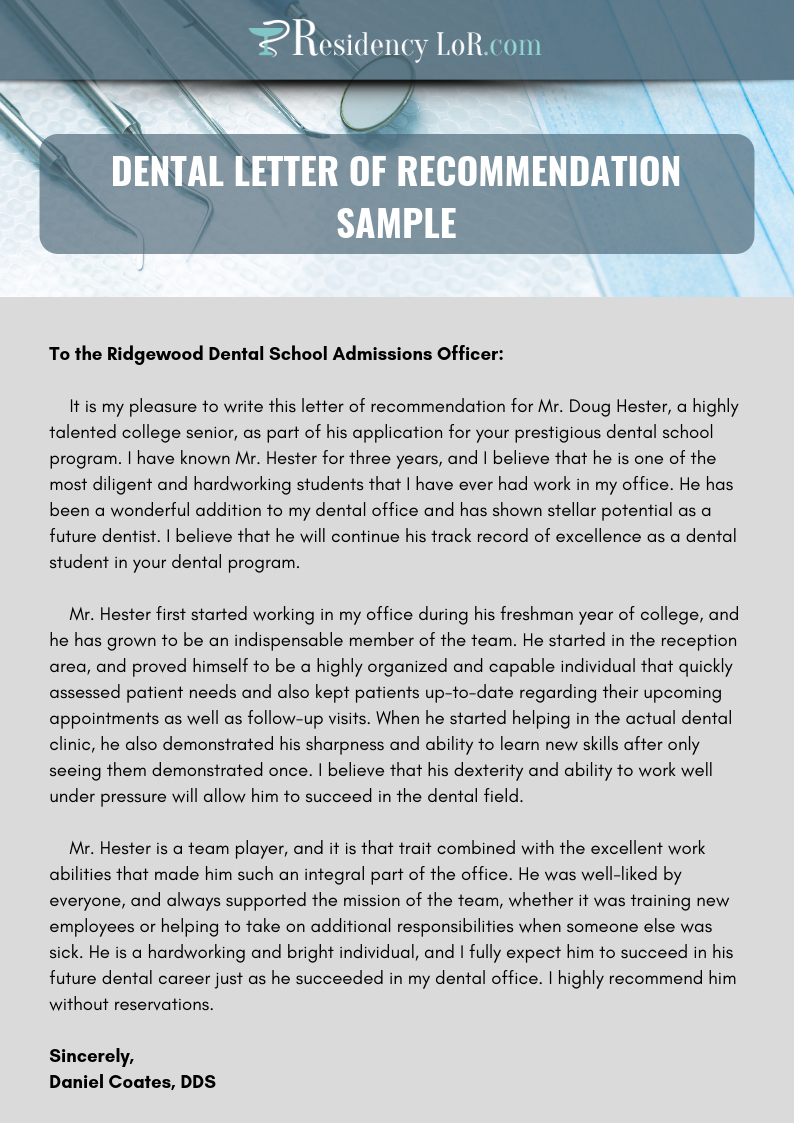 Recommendation Letter For Dentist Writing Editing Help for measurements 794 X 1123