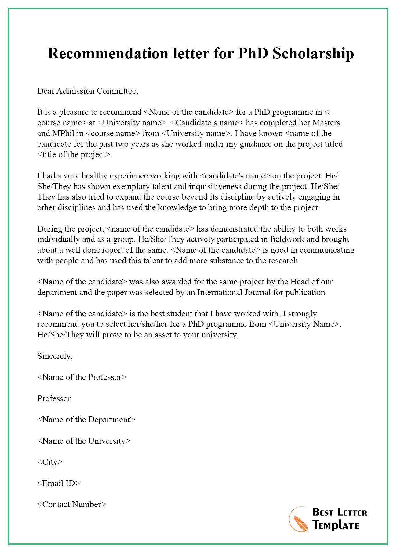 Recommendation Letter For Biology Student • Invitation ...
