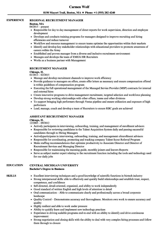 recruitment manager resume template  u2022 invitation template