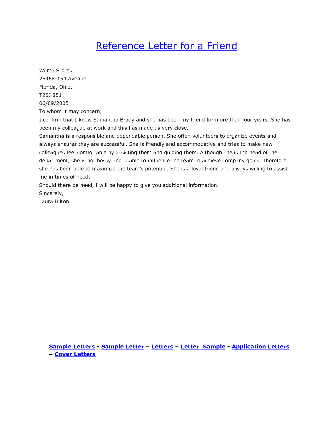 Reference Letter Sample For A Friend Yahoo Search Results within size 1275 X 1650