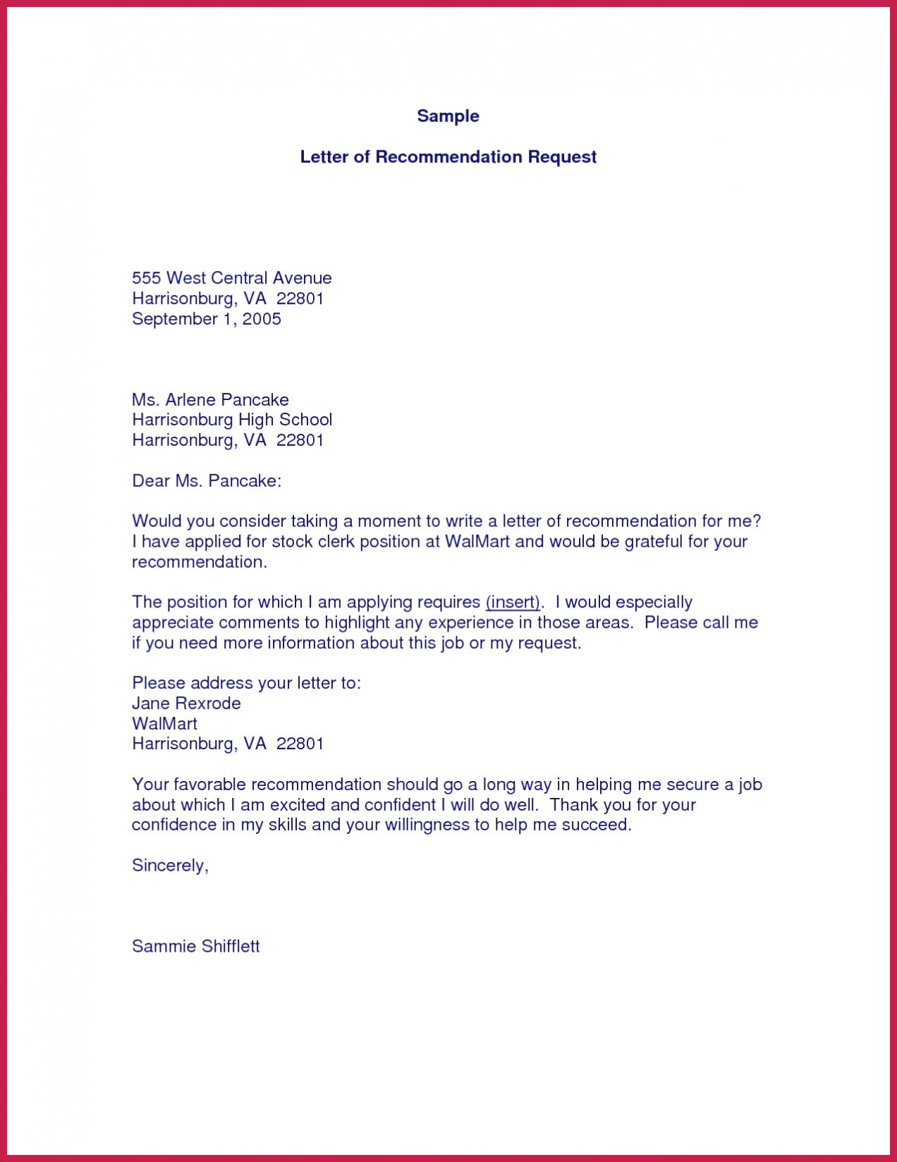 Requesting Letter Of Recommendation Example Debandje with proportions 1272 X 1647