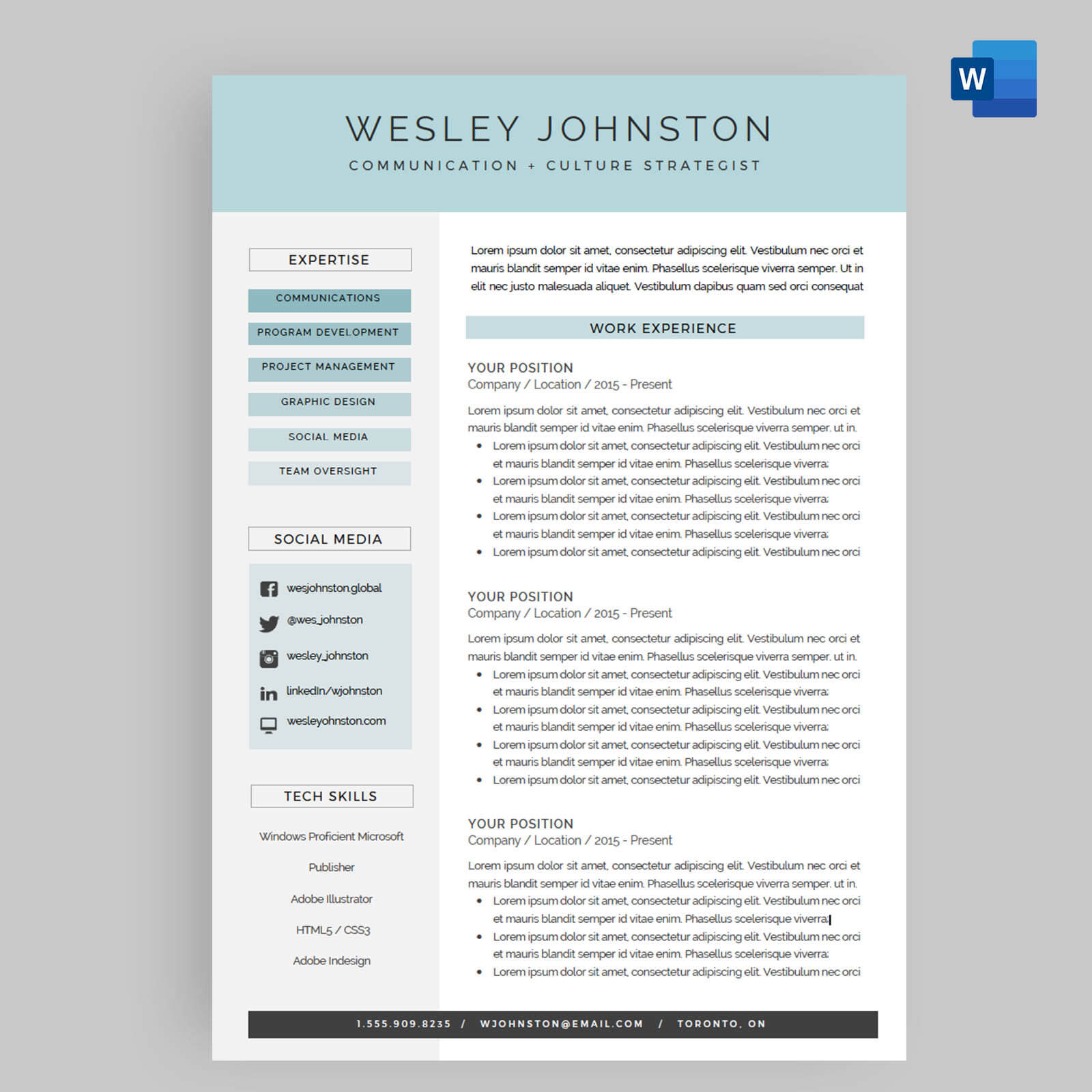 Resume Cv Template Package For Microsoft Word The Wesley intended for proportions 1600 X 1600