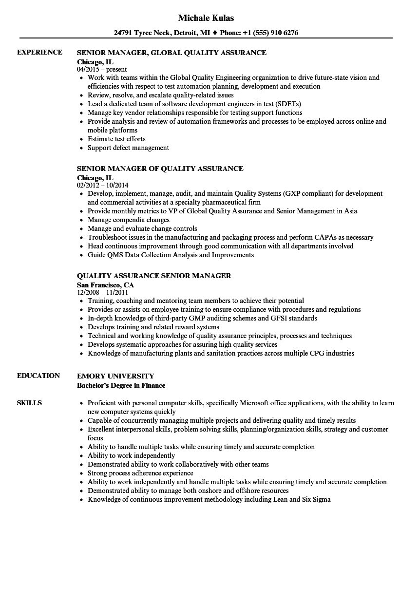 Resume Template For Qa Manager Invitation Template Ideas