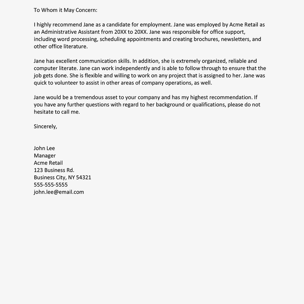 Sample Employer Reference Letter Menom within measurements 1000 X 1000