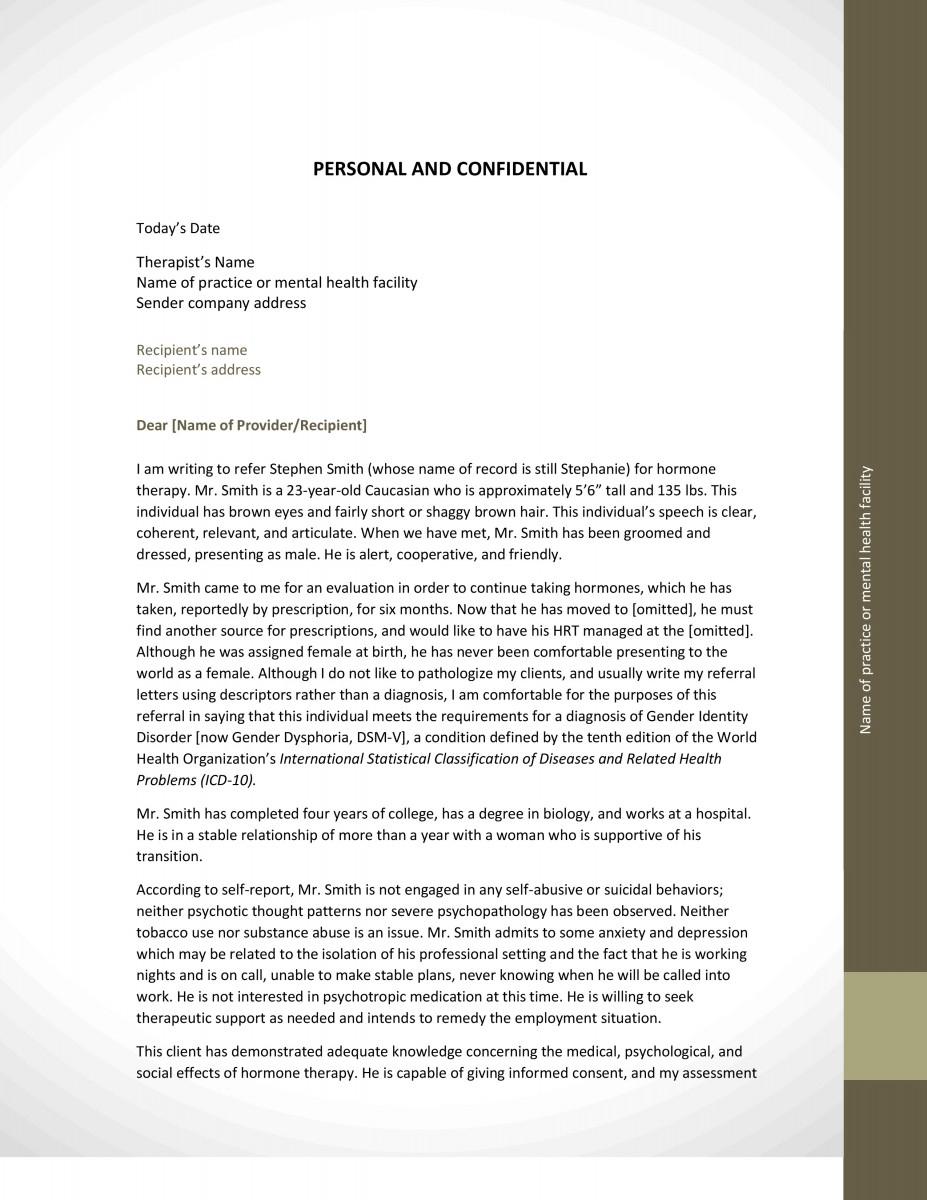 Sample Letter Of Recommendation For Mental Health ...
