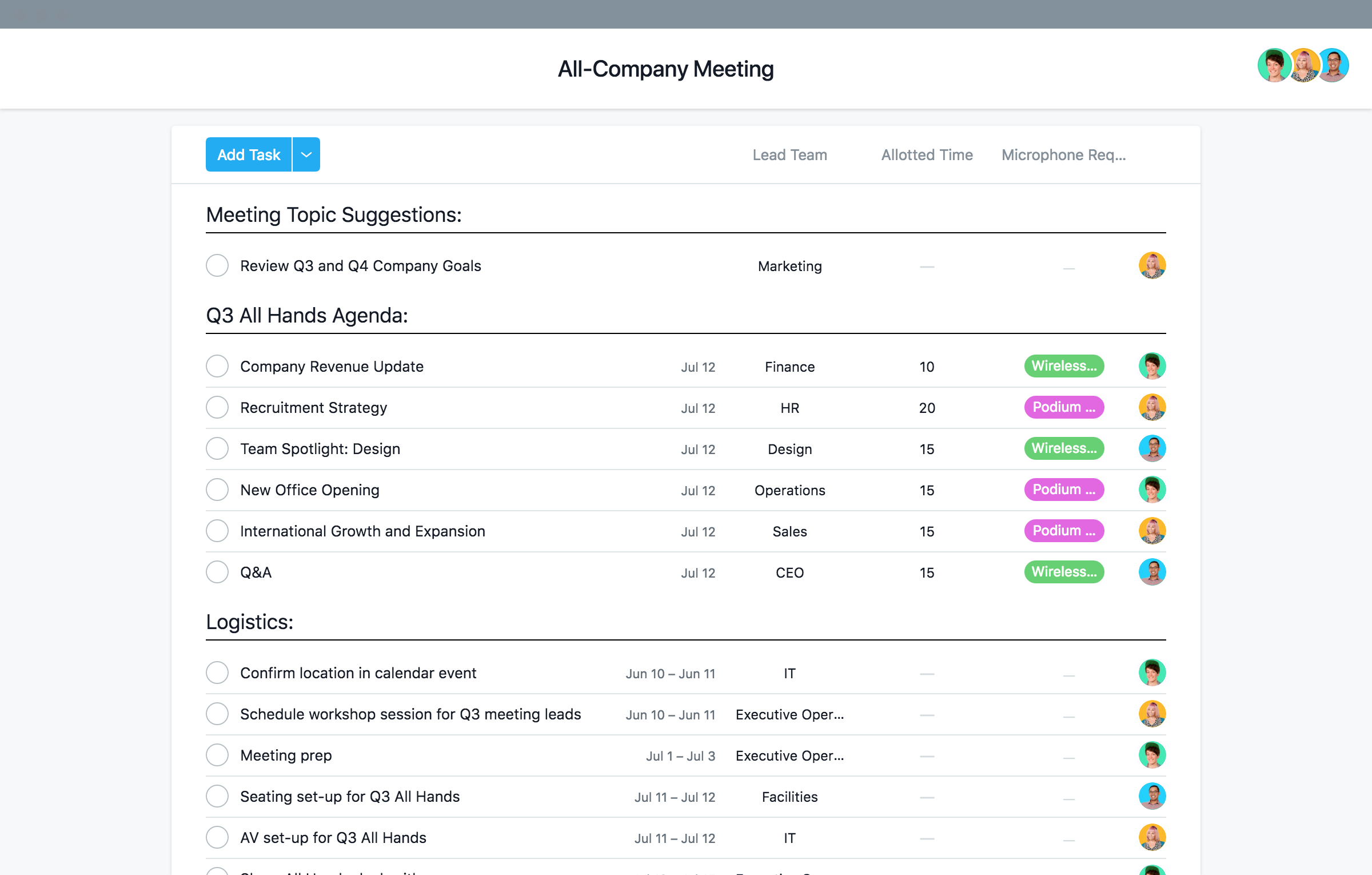 Staff All Hands Meeting Agenda Template Asana within sizing 2400 X 1530