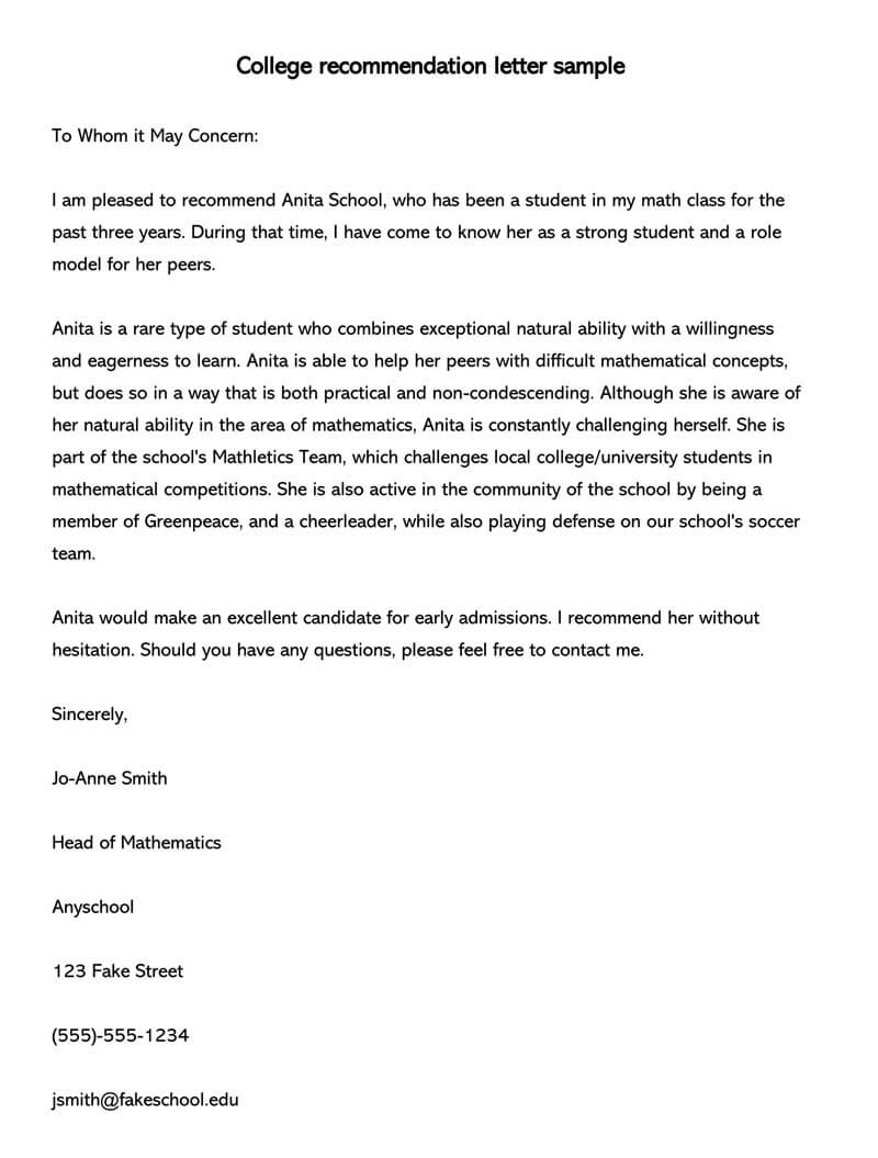 Student Recommendation Letter 15 Sample Letters And Examples with sizing 800 X 1055