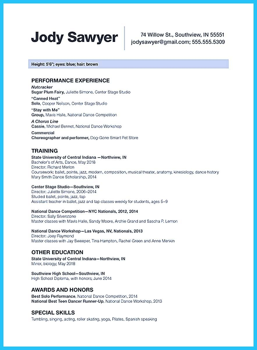 The Best And Impressive Dance Resume Examples Collections with measurements 883 X 1200
