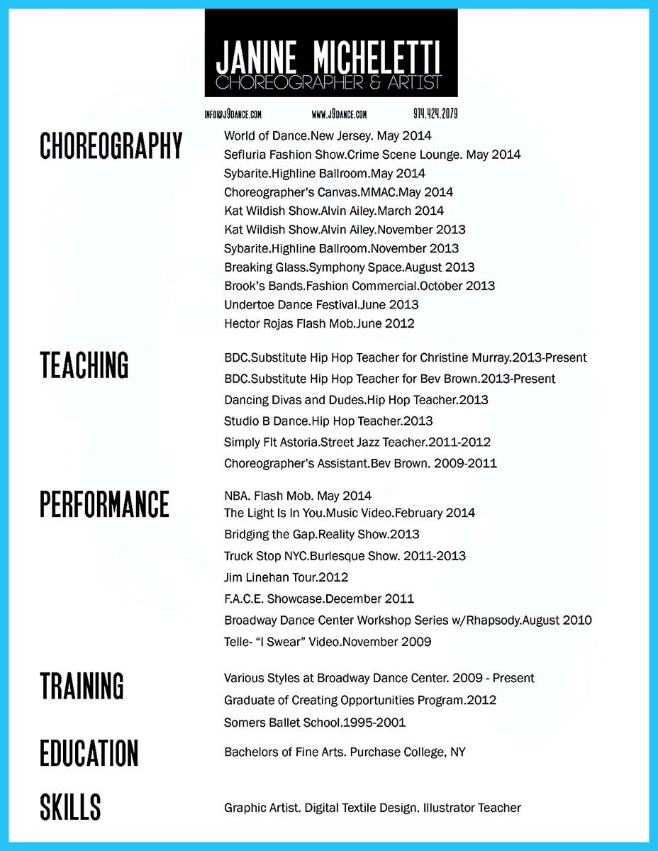 The Best And Impressive Dance Resume Examples Collections with size 928 X 1200