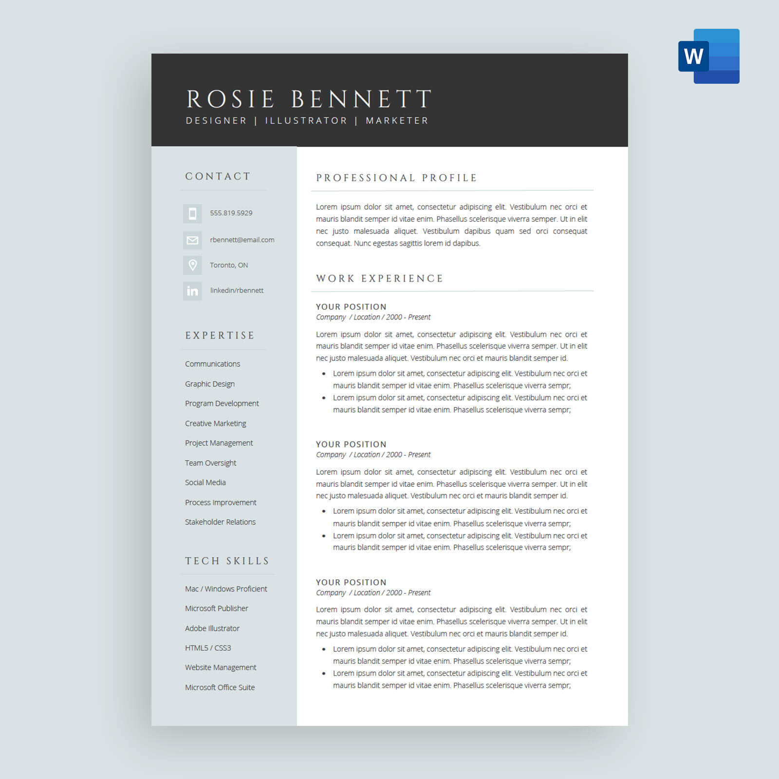 The Rosie Resume Cv Template Package For Microsoft Word for proportions 1600 X 1600