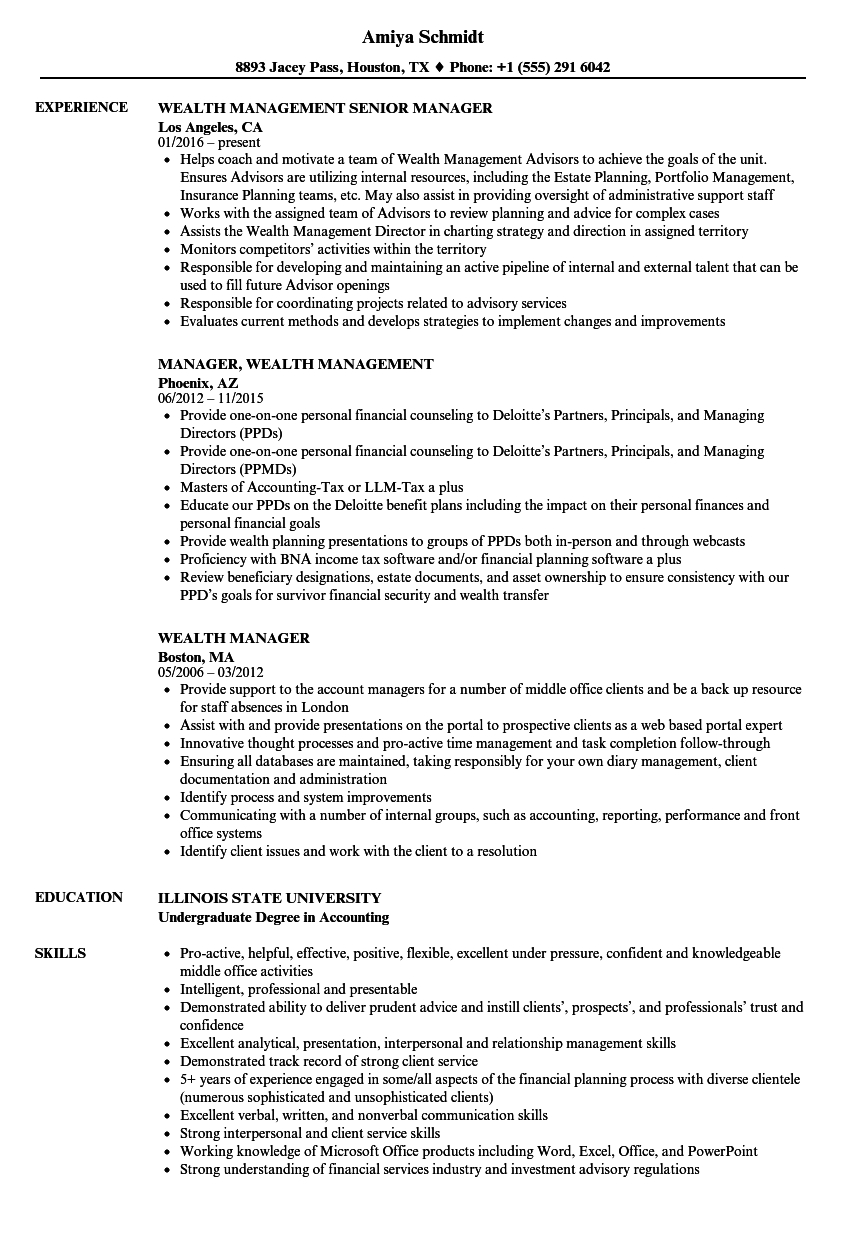 Wealth Manager Cv Template • Invitation Template Ideas